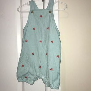 Janie and Jack blue romper with embroidered crabs
